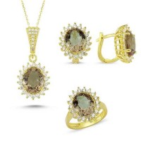 Brilliant Cut Zultanit ve Zirkon Taşlı Gold Kaplama Modern Set (ST16)
