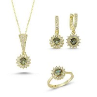 Brilliant Cut Zultanit ve Zirkon Taşlı Gold Kaplama Sade Set (ST59)