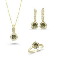 Brilliant Cut Zultanit ve Zirkon Taşlı Gold Kaplama Set (ST61)