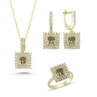 Princess Cut Zultanit ve Zirkon Taşlı Gold Kaplama Modern Set (ST58)