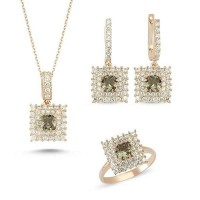 Princess Cut Zultanit ve Zirkon Taşlı Rose Kaplama Modern Set (ST006)