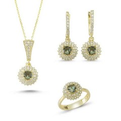 Brilliant Cut Zultanit ve Zirkon Taşlı Gold Kaplama Otantik Set (ST63)