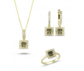 Princess Cut Zultanit ve Zirkon Taşlı Gold Kaplama Klasik Set (ST52)